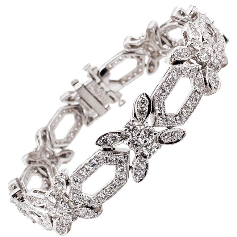 Round Natural Diamonds 8.31 Carat Slim Platinum Bracelet For Sale