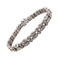 Slim Platinum Tennis Bracelet with Round Diamonds 6.73 Carat