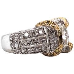Yellow Princess Diamond Platinum Gold Cocktail Ring