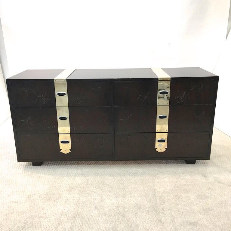 Mid-Century Modern Max Keuhne Style Chest of Drawers with Incised Flowers and Brass Ribbon For Sale