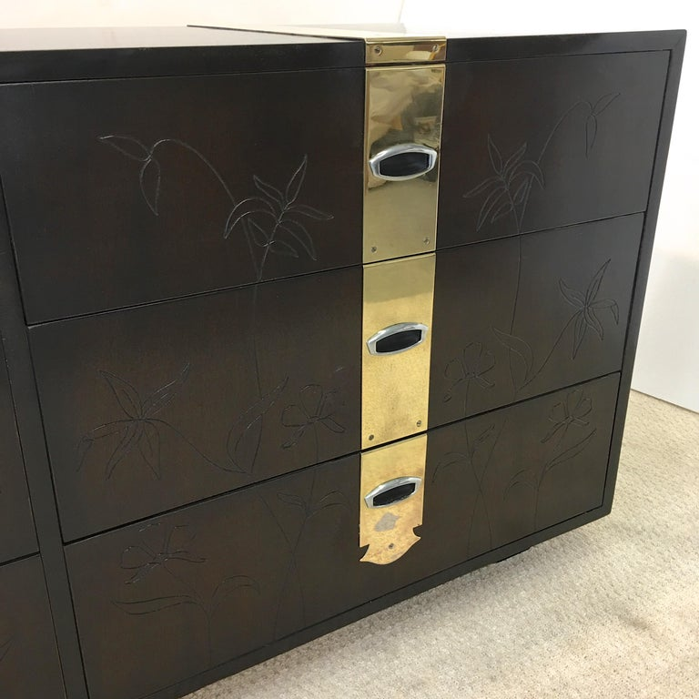 Max Keuhne Style Chest of Drawers with Incised Flowers and Brass Ribbon In Good Condition For Sale In Hingham, MA