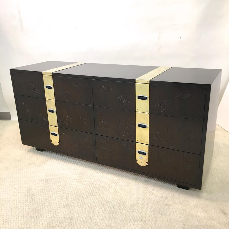 Max Keuhne Style Chest of Drawers with Incised Flowers and Brass Ribbon For Sale 2