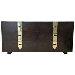 Max Keuhne Style Chest of Drawers with Incised Flowers and Brass Strapping