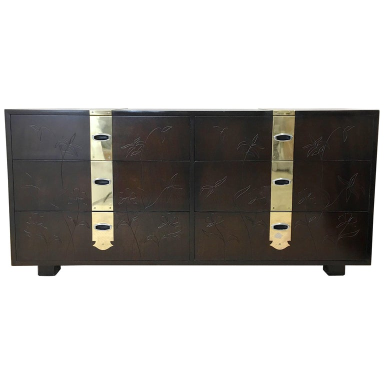 Max Keuhne Style Chest of Drawers with Incised Flowers and Brass Ribbon For Sale
