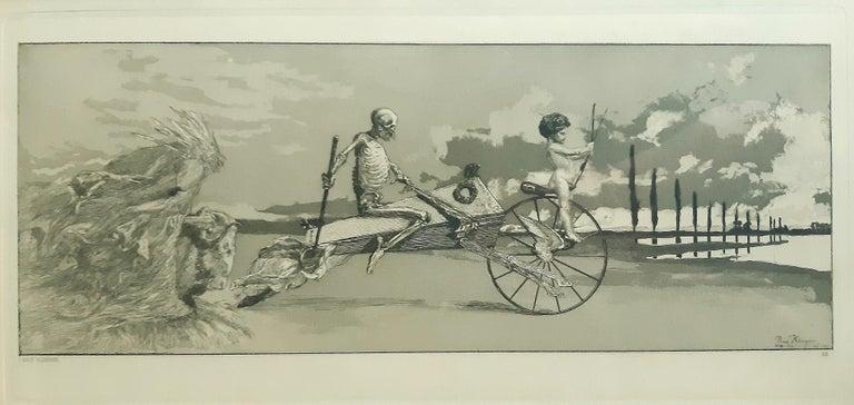 Max Klinger Figurative Print - Amor, Tod und Jenseits - Original Etching by M. Klinger - 1881