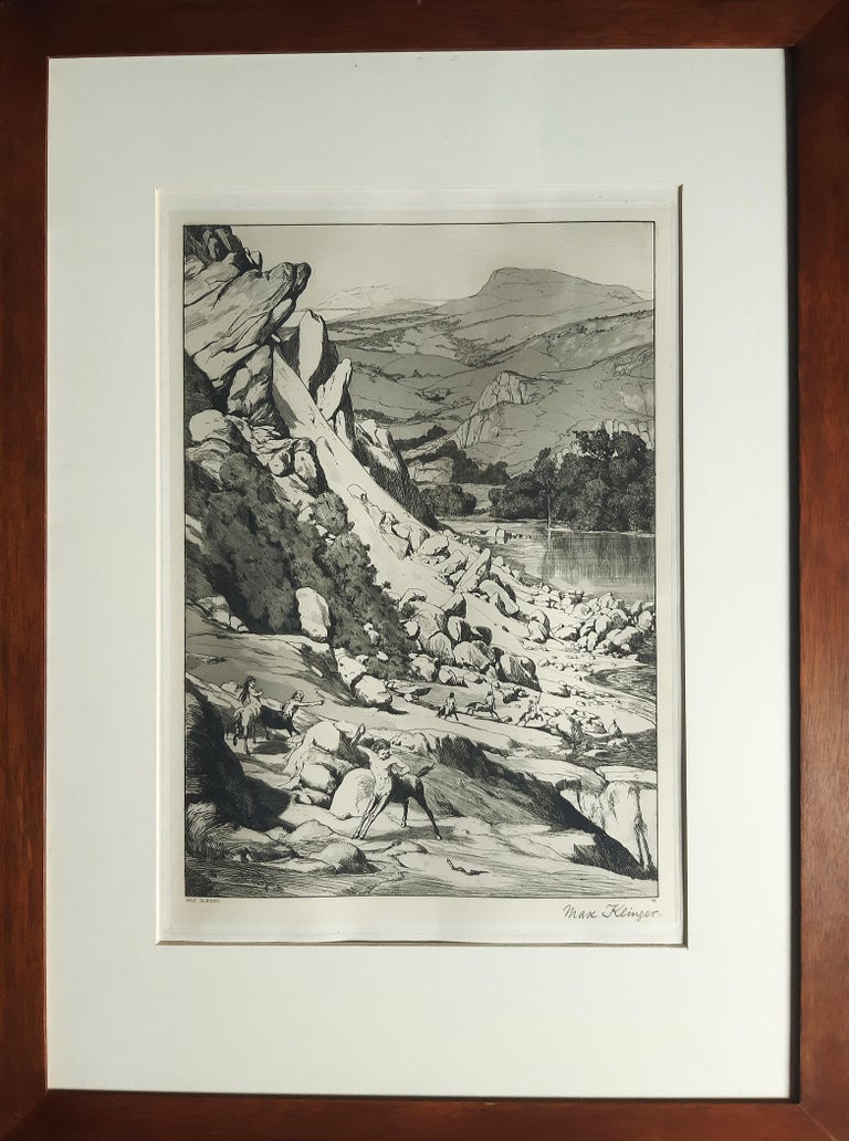 Bergsturz - Original Etching by M. Klinger - 1881 - Print by Max Klinger