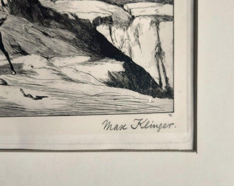 Bergsturz - Original Etching by M. Klinger - 1881 - Symbolist Print by Max Klinger