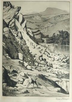 Bergsturz - Original Etching by M. Klinger - 1881
