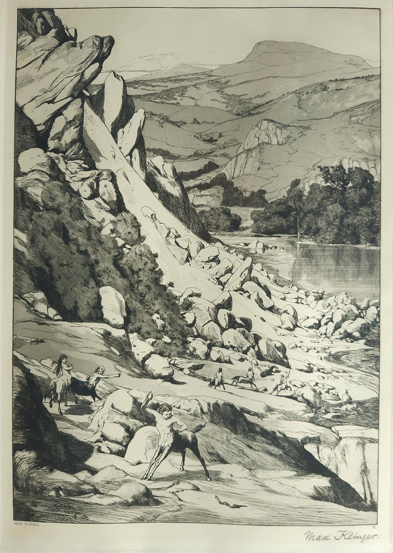 Max Klinger Figurative Print - Bergsturz - Original Etching by M. Klinger - 1881