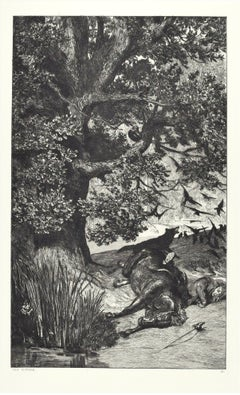 Fallen Knight - Original Etching by M. Klinger - 1881