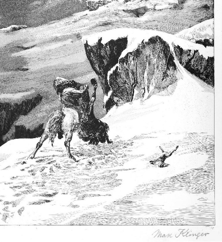 Kämpfende Kentauren - Original Etching by M. Klinger - 1881 - Print by Max Klinger