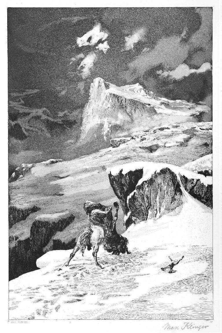 Max Klinger Figurative Print - Kämpfende Kentauren - Original Etching by M. Klinger - 1881