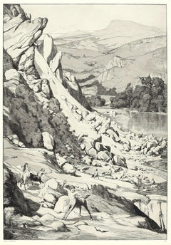 Landslide - Original Etching and Aquatint by Max Klinger - 1881