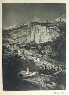Mondnacht - Original Etching by M. Klinger - 1881