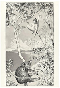"""Bear And Elf from """"Intermezzi"""" - Original Etching by Max Klinger - 1881"""