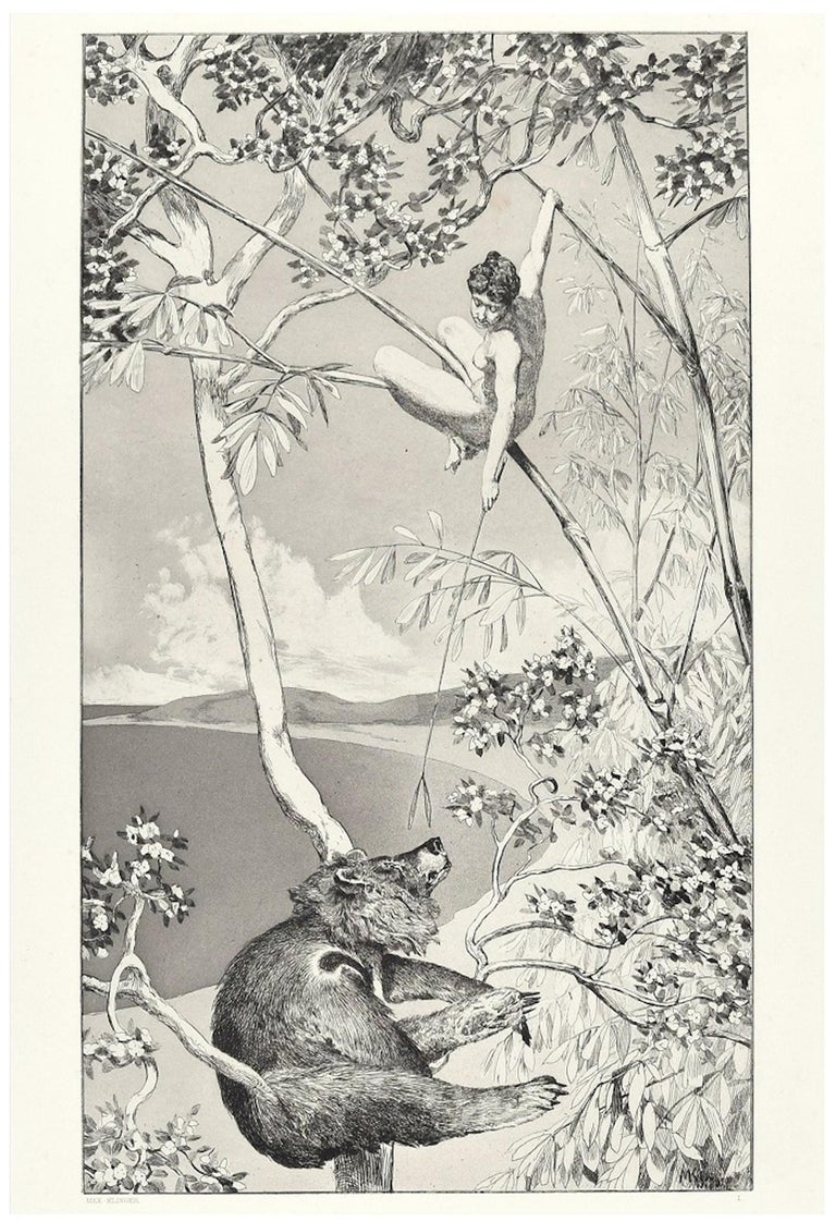 """Bear And Elf from """"Intermezzi"""" is an original print realized by Max Klinger in 1881.  Signature and number of the print on plate.  Black and white etching and aquatint. Original title: Bär und Elfe.  The artwork is from the portfolio Intermezzi,"""
