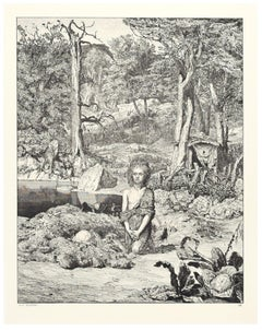Simplicius On The Tomb Of the Hermit - Original Etching by M. Klinger - 1881