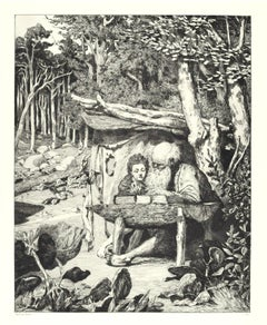 Simplicius Writing Lesson - Original Etching by M. Klinger - 1881