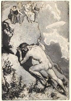 Sisyphos. Die Fakultäten - Original Etching by M. Klinger - 1914