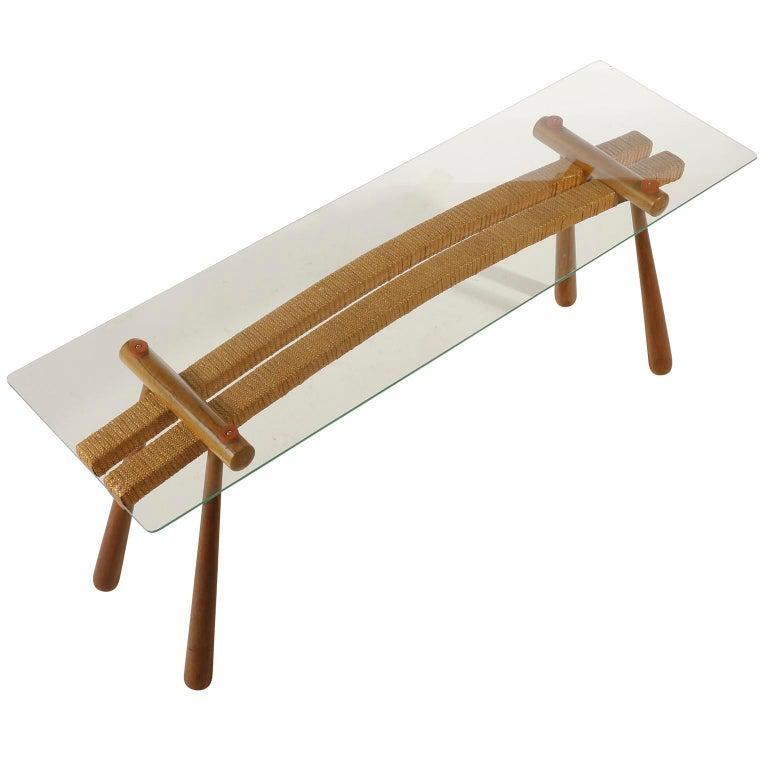 Max Kment Couch Beistelltisch Glas Holz Kordel österreich 1950er