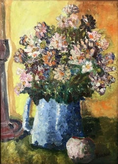 """Floral Still Life in a Blue Vase"" American Impressionist"