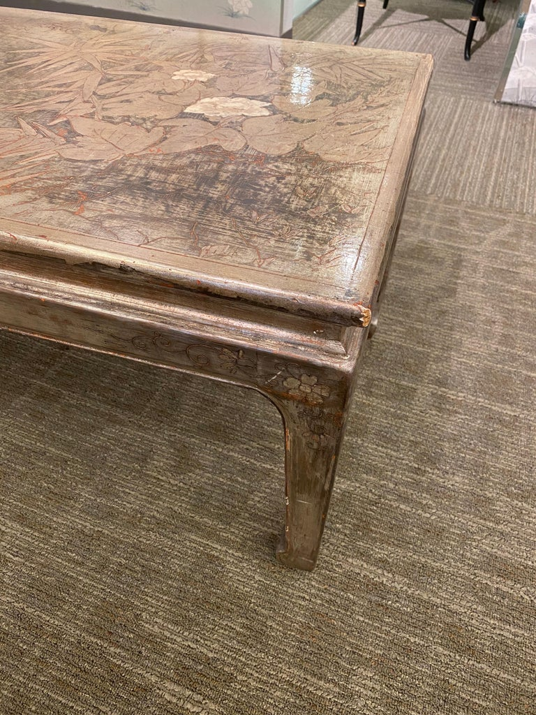 Etched Max Kuehne Silver leaf Coffee Table For Sale