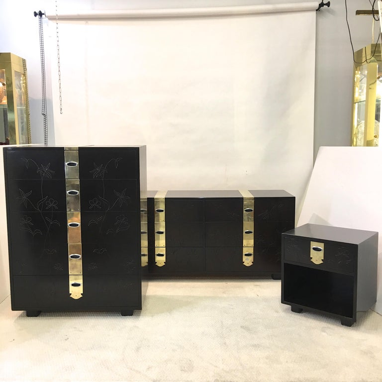 American Max Kuehne Style Floral Incised Tall Chest of Drawers with Brass Ribbon For Sale