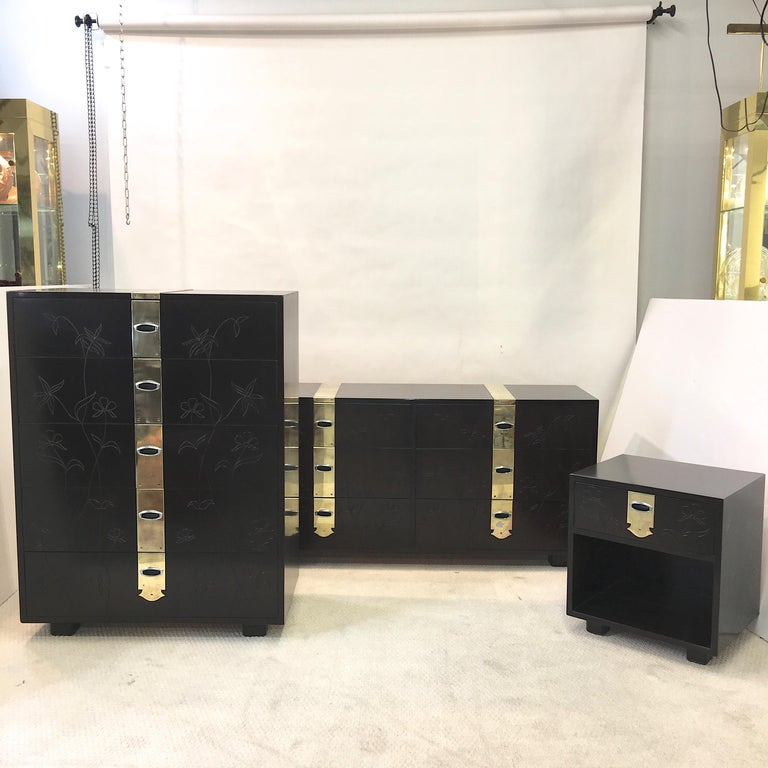 Max Kuehne Style Floral Incised Tall Chest of Drawers with Brass Ribbon In Good Condition For Sale In Hingham, MA