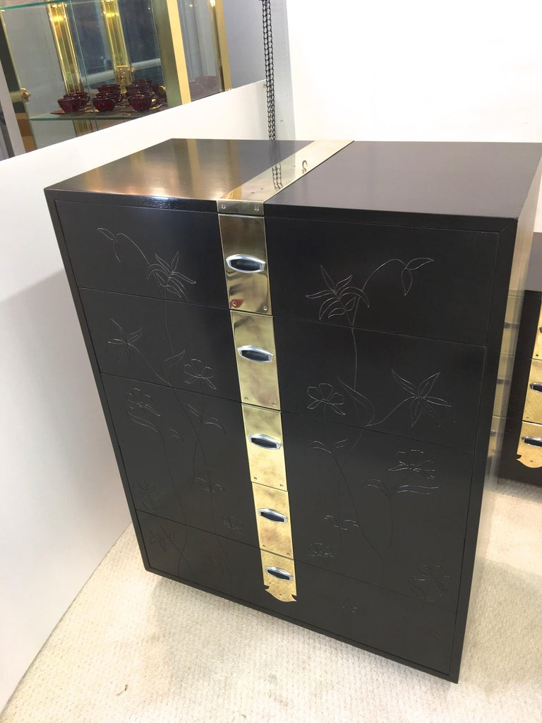 Mid-20th Century Max Kuehne Style Floral Incised Tall Chest of Drawers with Brass Ribbon For Sale
