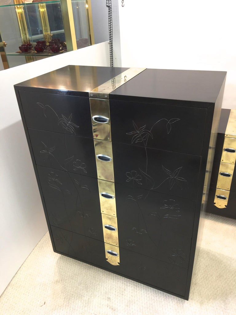 Max Kuehne Style Floral Incised Tall Chest of Drawers with Brass Ribbon For Sale 1