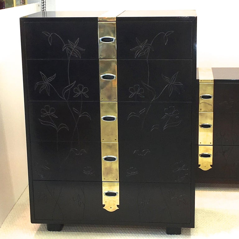 Max Kuehne Style Floral Incised Tall Chest of Drawers with Brass Ribbon For Sale 2