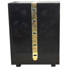 Max Kuehne Style Floral Incised Tall Chest of Drawers with Brass Ribbon
