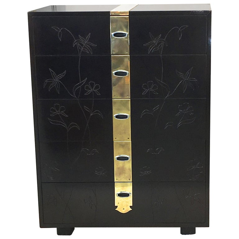 Max Kuehne Style Floral Incised Tall Chest of Drawers with Brass Ribbon For Sale
