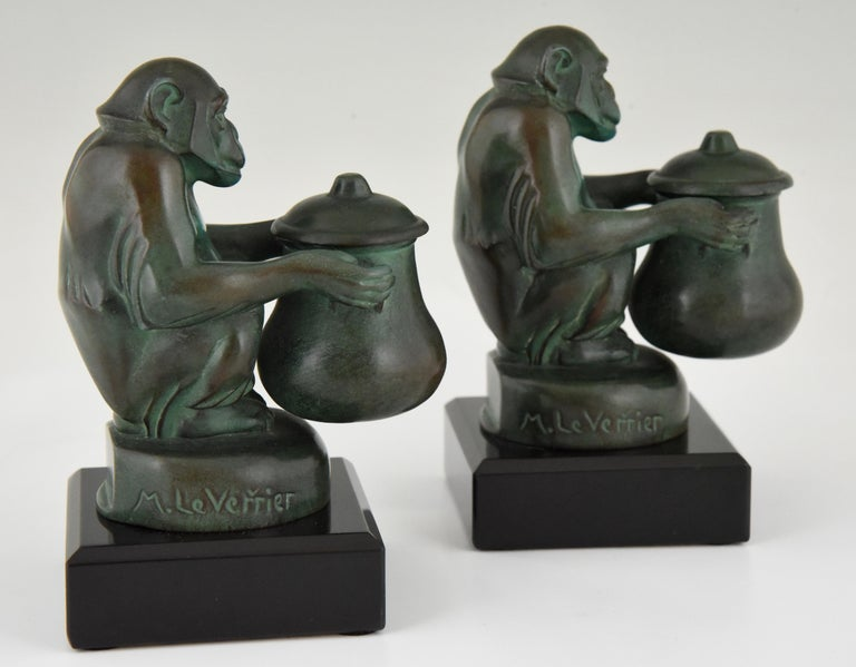 Max Le Verrier Art Deco Monkey Bookends France, 1930 For Sale 3