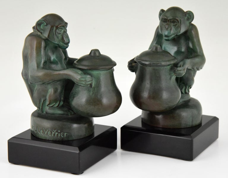 Max Le Verrier Art Deco Monkey Bookends France, 1930 For Sale 4