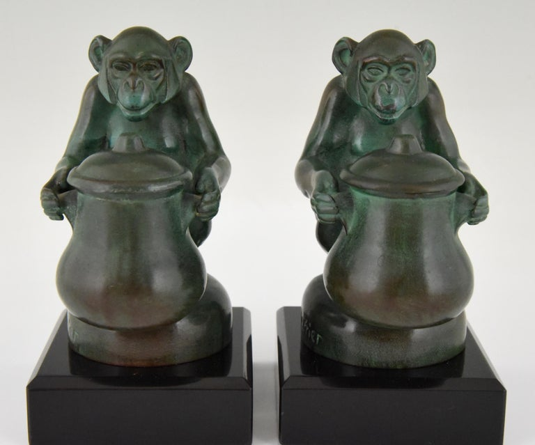 French Max Le Verrier Art Deco Monkey Bookends France, 1930 For Sale