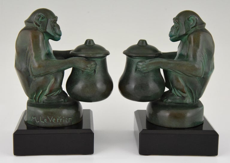 Patinated Max Le Verrier Art Deco Monkey Bookends France, 1930 For Sale