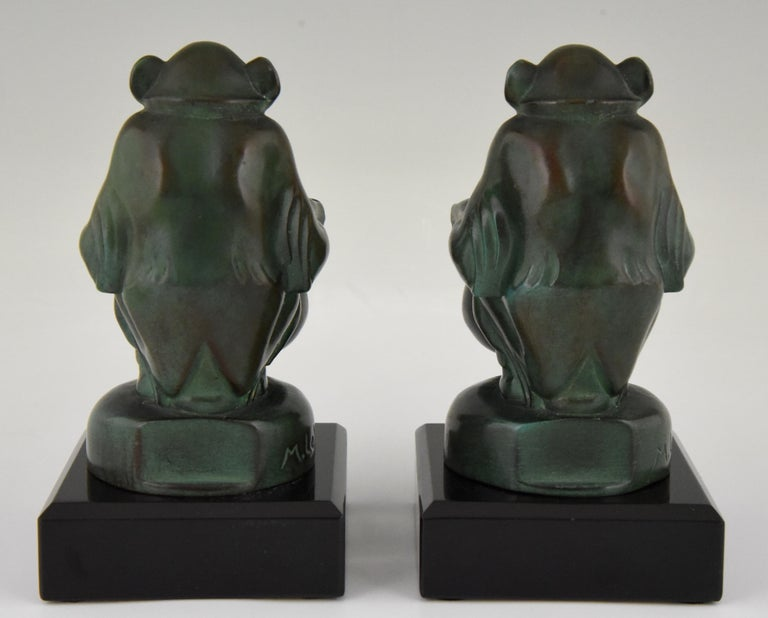 Max Le Verrier Art Deco Monkey Bookends France, 1930 In Good Condition For Sale In Antwerp, BE