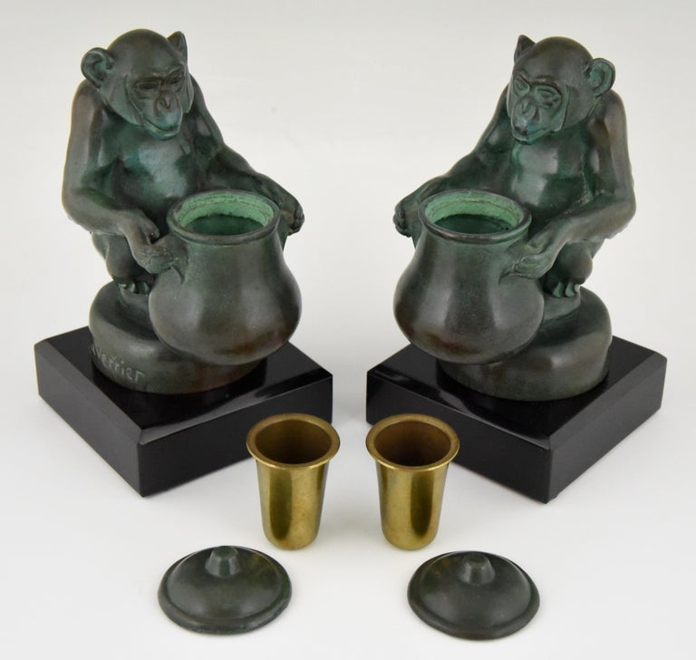Max Le Verrier Art Deco Monkey Bookends France, 1930 For Sale 1