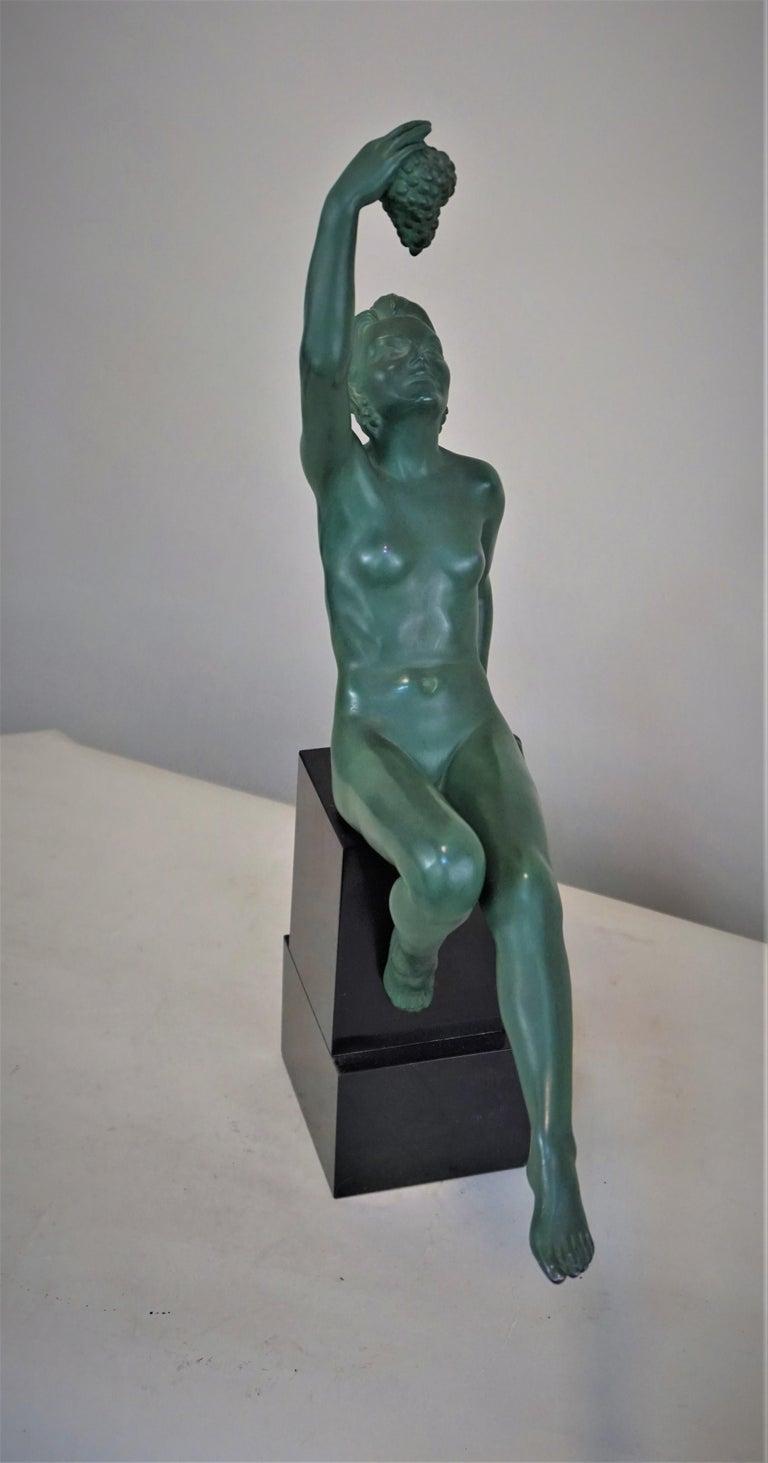 Spelter Max Le Verrier Art Deco Nude Sculpture with Grape For Sale