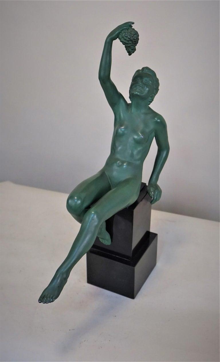 Max Le Verrier Art Deco Nude Sculpture with Grape For Sale 1