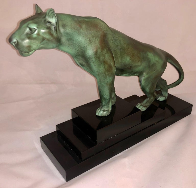 French Max Le Verrier Art Deco Sculpture of a Panther, France, 1930 For Sale