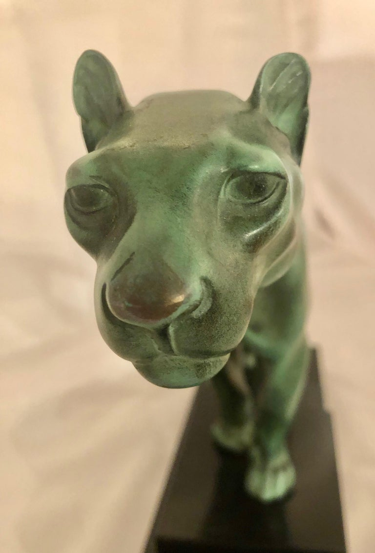 Mid-20th Century Max Le Verrier Art Deco Sculpture of a Panther, France, 1930 For Sale