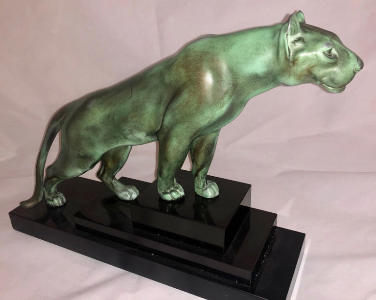 Max Le Verrier Art Deco Sculpture of a Panther, France, 1930 For Sale 1