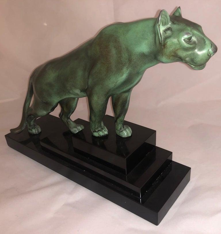 Max Le Verrier Art Deco Sculpture of a Panther, France, 1930 For Sale 2