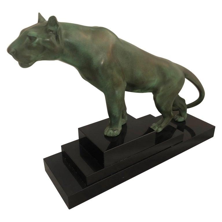 Max Le Verrier Art Deco Sculpture of a Panther, France, 1930 For Sale