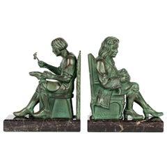 Max Le Verrier Art Deco The Cobbler And The Financier Patinated Bronze Bookends