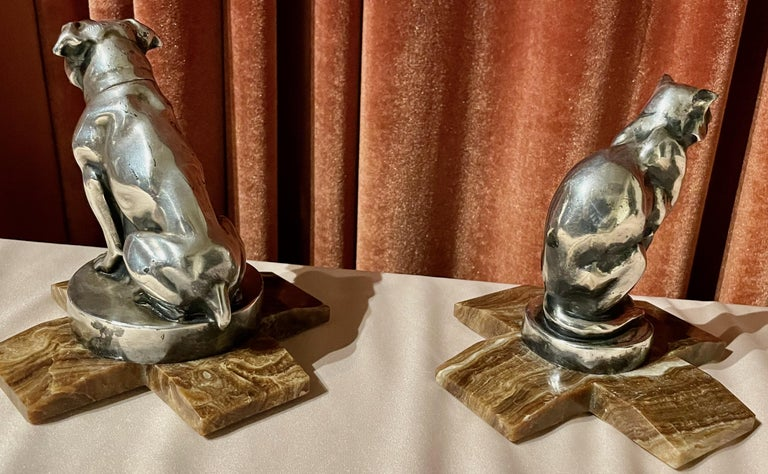 Max Le Verrier Bookends Statues of Dog and Cat French Art Deco For Sale 6