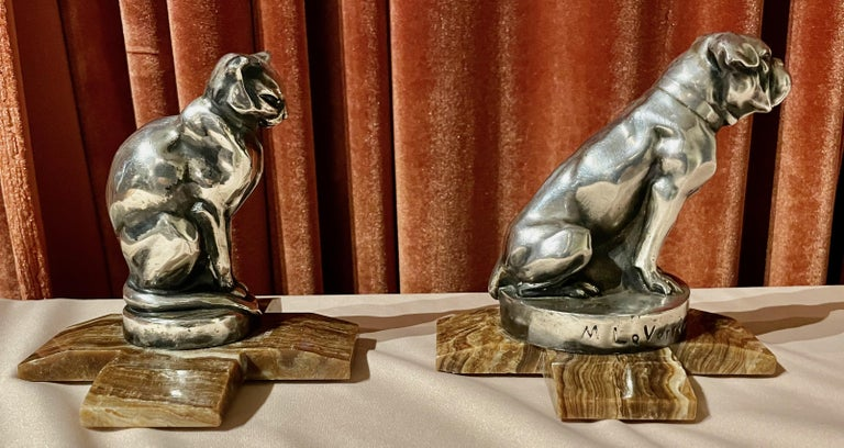 Max Le Verrier Bookends Statues of Dog and Cat French Art Deco In Good Condition For Sale In Oakland, CA