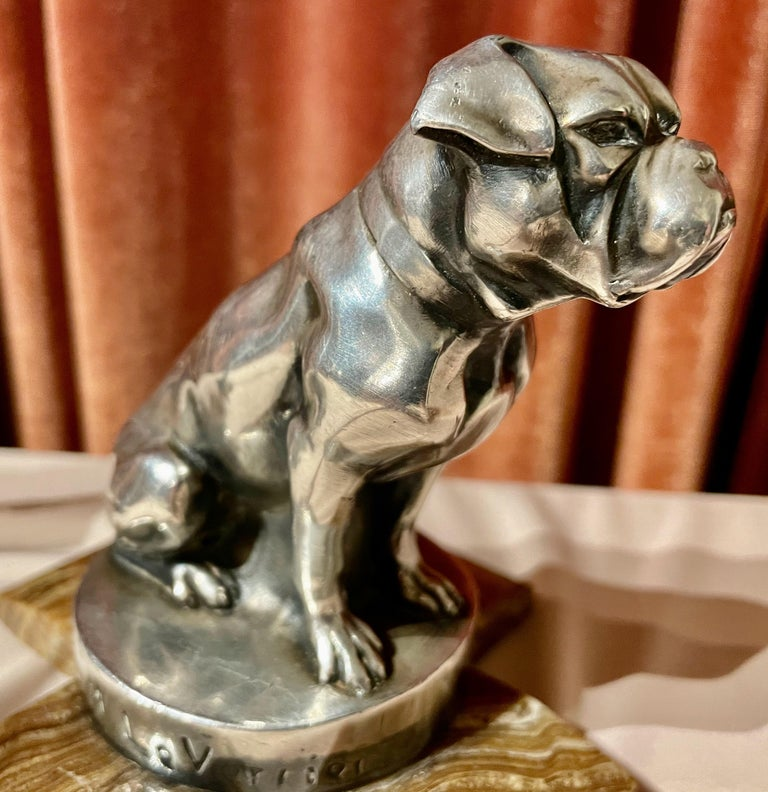 Mid-20th Century Max Le Verrier Bookends Statues of Dog and Cat French Art Deco For Sale